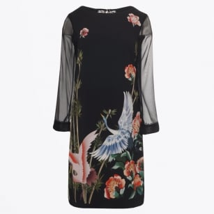 - Flower Print Chiffon Dress - Black