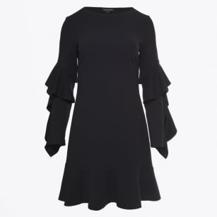 - Frill Sleeve Dress - Black
