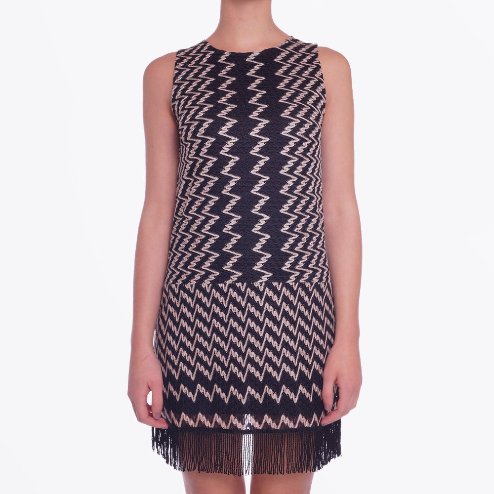 zig zag print fringed dress party dresses online ana alcazar. Black Bedroom Furniture Sets. Home Design Ideas