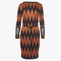 - Long Sleeve Zig Zag Dress - Black