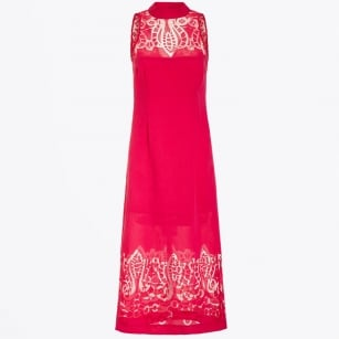 - Midi Dress with Lace Top - Cerise