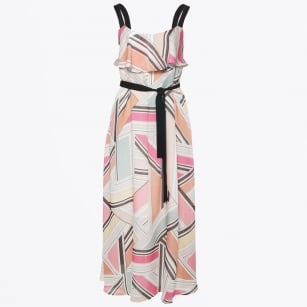 - Printed Maxi Dress - Black/Pink