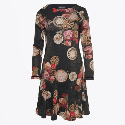 Ana Alcazar - Rose & Watch Print Dress - Black