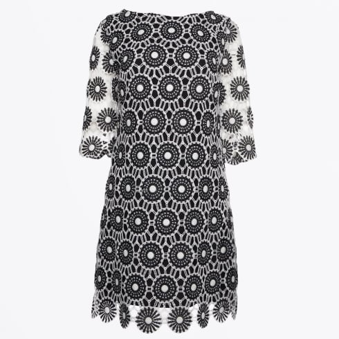 Ana Alcazar - Sleeved Crochet Lace Dress - Black/White