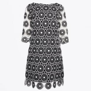 | Sleeved Crochet Lace Dress - Black/White