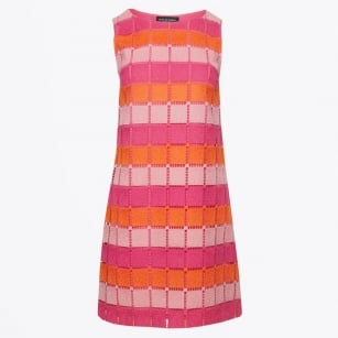 - Square Block Dress - Pink/Orange