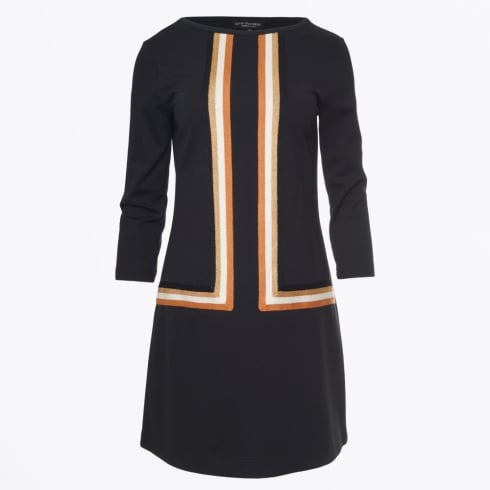 Ana Alcazar - Stripe Panelled A Line Dress - Black
