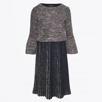 - Tweed Pleat Skirt Dress - Grey/Black