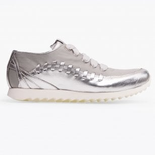 - Idra Metallic Lace Up Sneaker - Argento