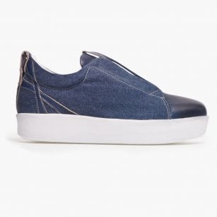 - Libby Canvas Wedge Sneaker - Blue