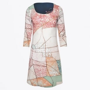 - A Line Scoop Neck Reversible Dress - Cheery Blossom/Mosaic Print