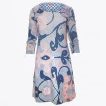 - Abstract Floral Long Sleeve Reversible Dress - Multi