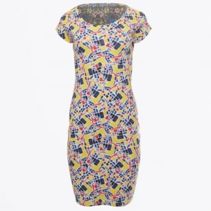 - Floral Abstract Cap Sleeve Reversible Dress - Multi