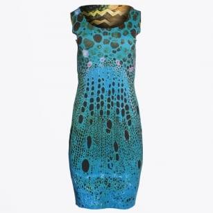 | Reversible Peacock Scoop Neck Dress - Peacock/Beach Print