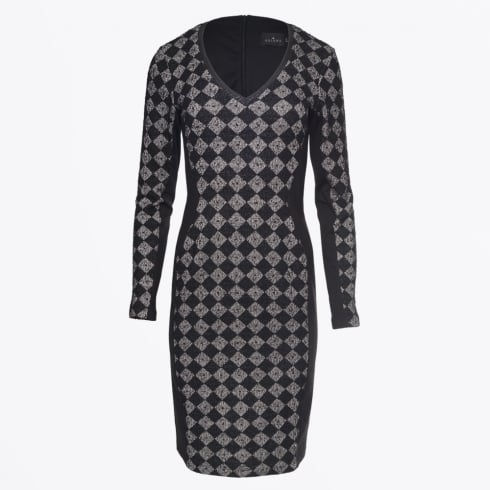 Ariana - Harlequin V Neck Dress - Black/Grey