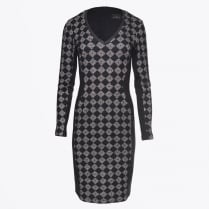 - Harlequin V Neck Dress - Black/Grey