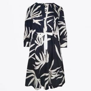| Belted Shirt Dress - Black/Cream