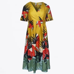 - Palm Print Empire Waist Full Skirt Dress
