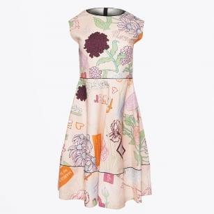 | Printed Flare Dress - Pink