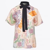 - Printed Tie Neck Blouse - Pink