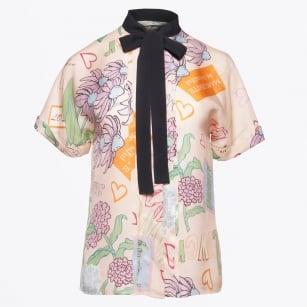 | Printed Tie Neck Blouse - Pink