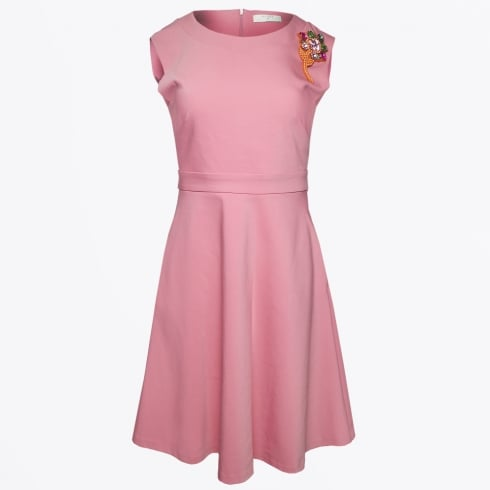 Beatrice B - Skater Style Dress With Brooch - Pink