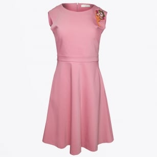 - Skater Style Dress With Brooch - Pink