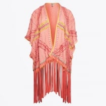 - Onsera - Beaded Fringed Top - Coral