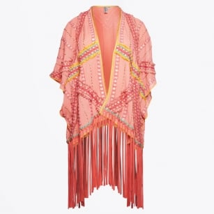 | Onsera - Beaded Fringed Top - Coral