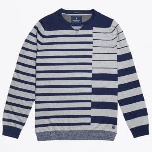 | Bar Stripe Crew Knit - Grey