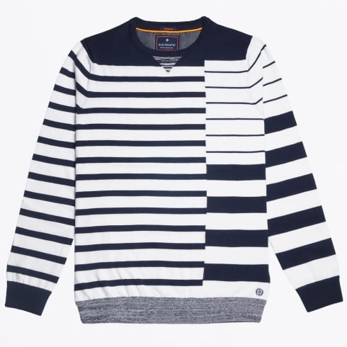 Blue Industry - Bar Stripe Crew Knit - Navy/White