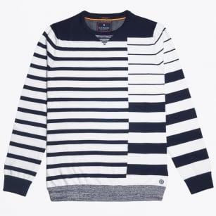 | Bar Stripe Crew Knit - Navy/White