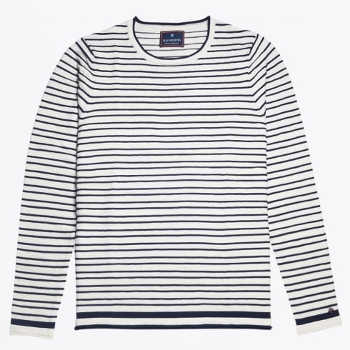 Blue Industry - Bar Stripe Crew Knit - White/Navy