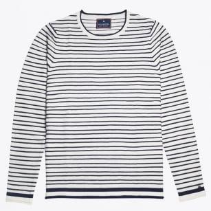 | Bar Stripe Crew Knit - White/Navy