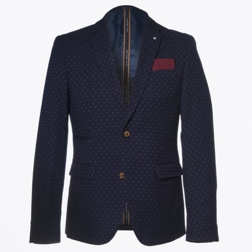 Blue Industry - Beige Dot Print Blazer - Navy