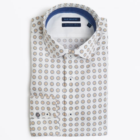 Blue Industry - Big Circle Print Shirt - White
