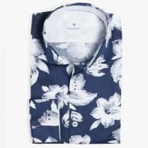 - Big Flower Print Shirt - Navy