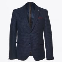 - Blue Puppytooth Pattern Blazer - Navy