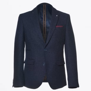 | Blue Puppytooth Pattern Blazer - Navy