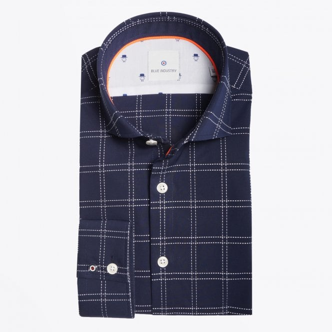 Blue Industry - Check Stitched Shirt - Navy