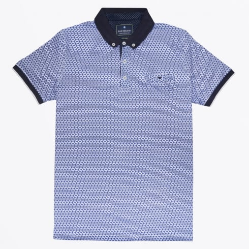 Blue Industry - Circle Print Button Down Polo - Blue