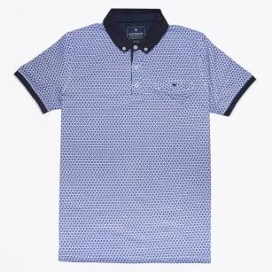| Circle Print Button Down Polo - Blue