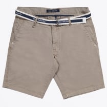 - Cotton Stretch Shorts - Sand