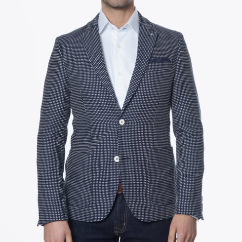 Blue Industry - Cross Stitch Detail Blazer - Navy