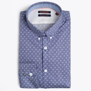 | Fine Stripe Floral Shirt - Indigo