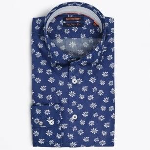 | Flower Print Shirt - Blue