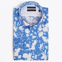 - Flower Print Short Sleeve Shirt - Blue