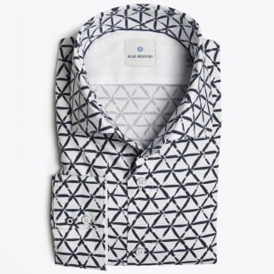 - Geometric Print Shirt - White/Navy