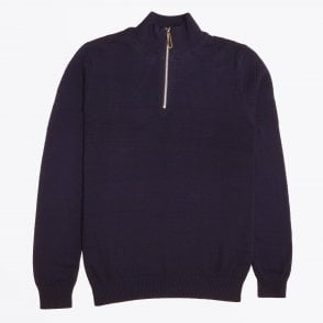 - High Neck Zip Sweater - Navy