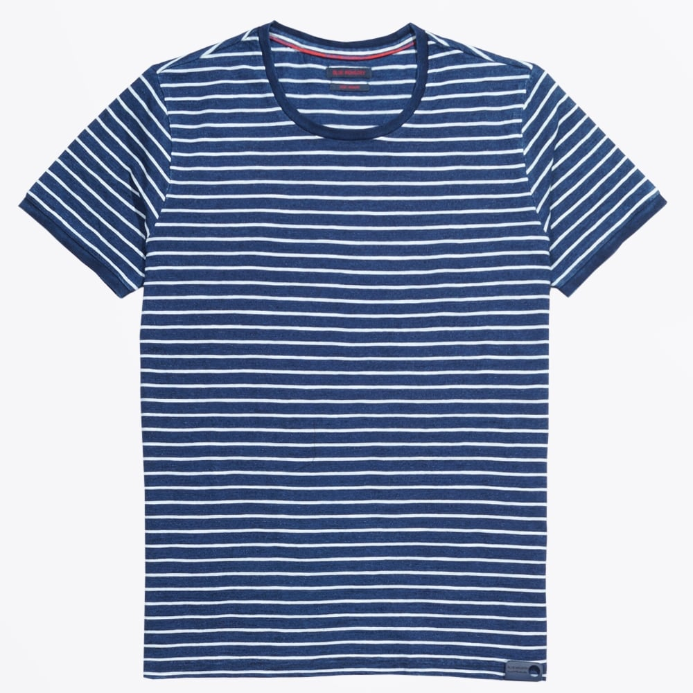 Blue industry horizontal striped t shirt indigo mr